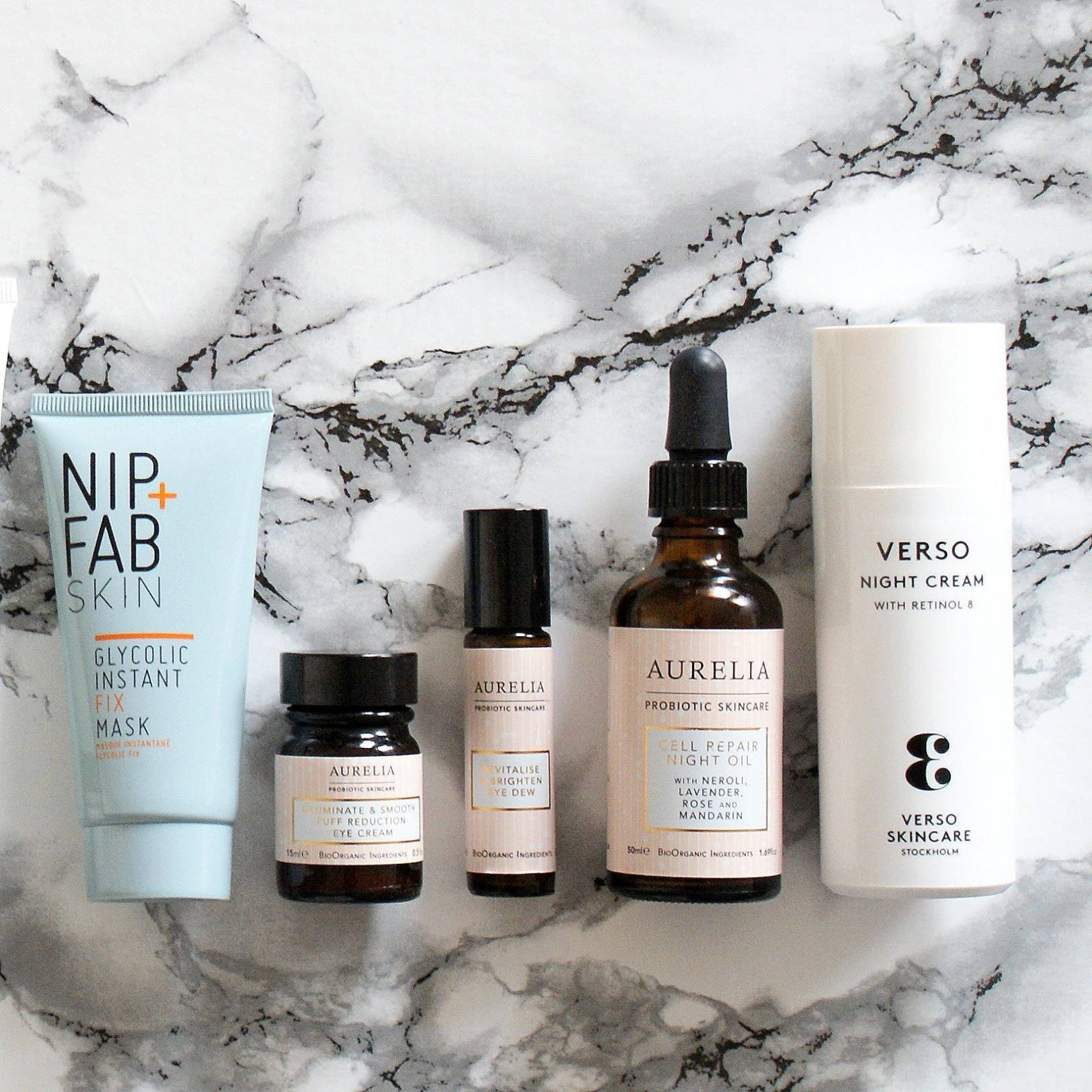Nip + Fab, Aurelia Probiotic Skincare, Verso Skincare.