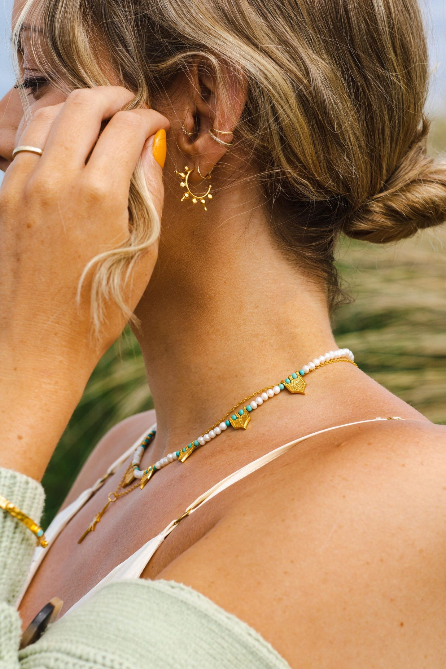 Ottoman Hands Gold Riva Pearl and Turquoise Necklace, Gold Star Necklace and Aylin Gold Hoop Earrings
