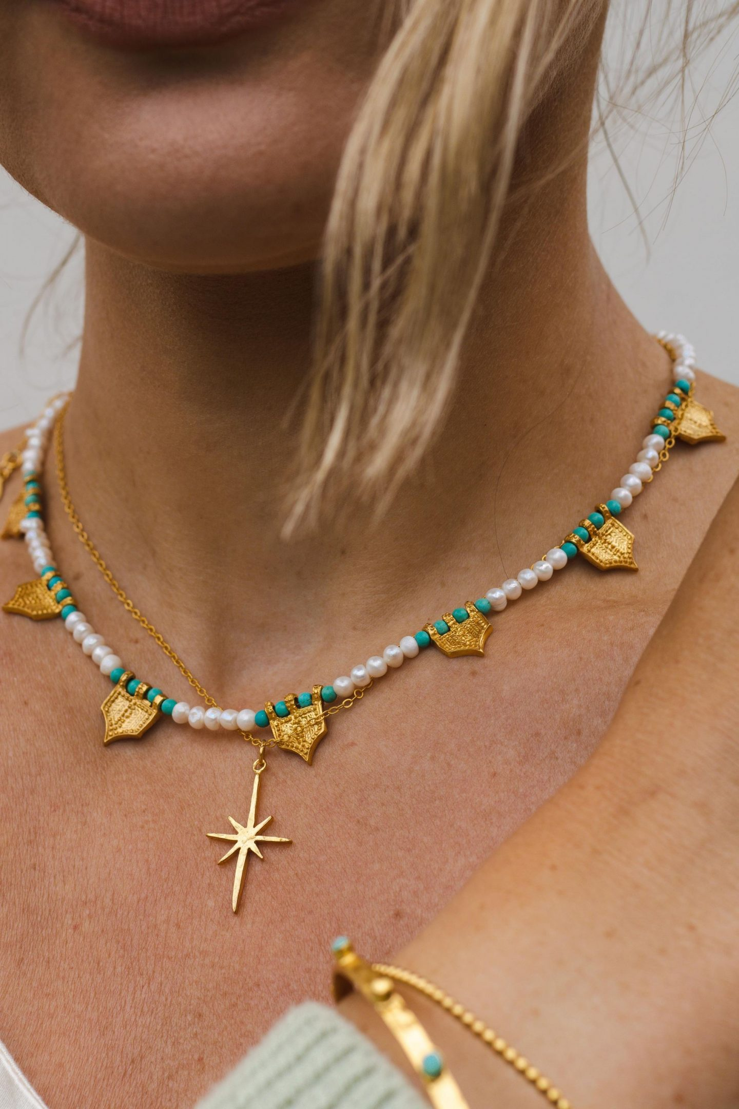 Ottoman Hands Gold Riva Pearl and Turquoise Necklace, Gold Star Necklace