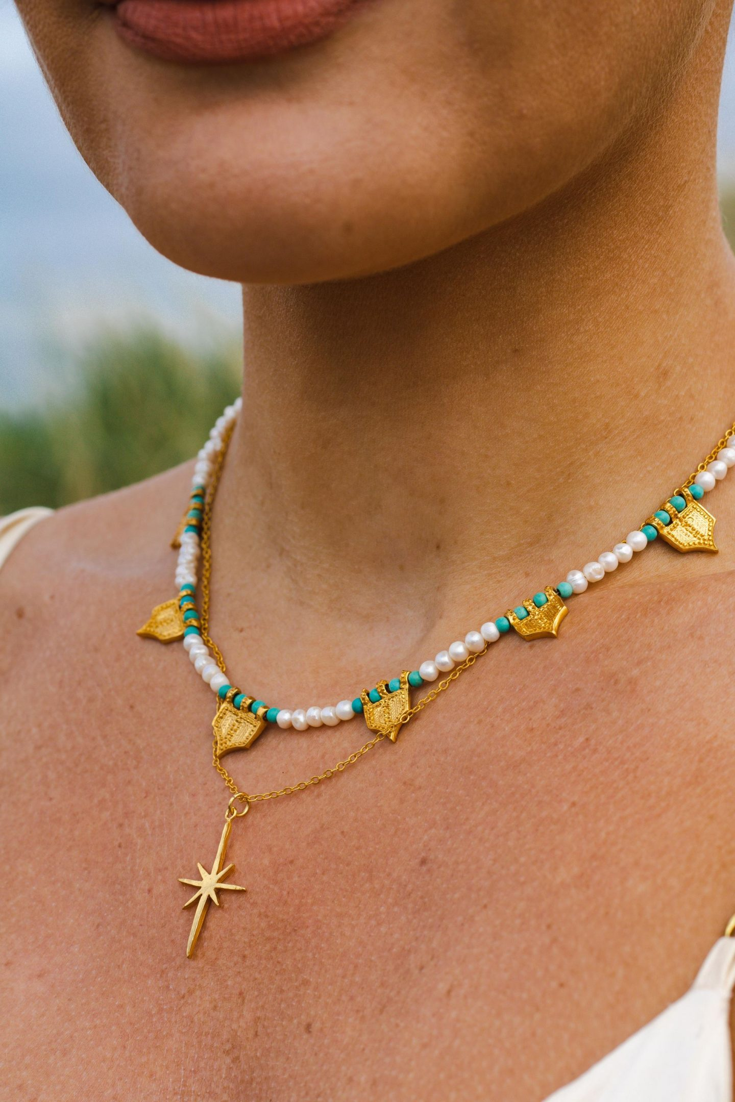 Ottoman Hands Jewellery. Gold Riva Pearl and Turquoise Necklace, Gold Star Necklace